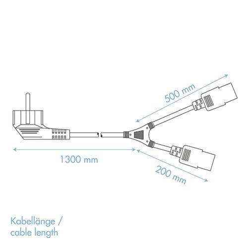 Y-stroomkabel CEE7/7 2x C13 1.5 M