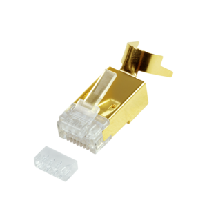 Cat.8.1 / Cat.6A RJ45 plug, gold plated, 10 pcs.