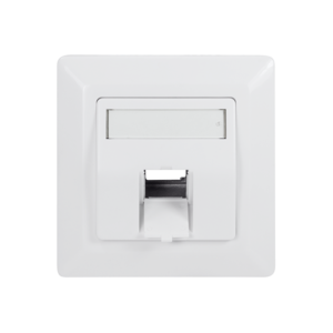 Faceplate for 1 keystone jack, 45° outlet, signal white