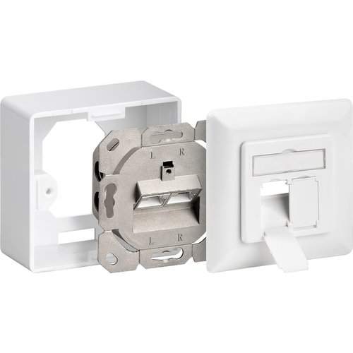 Cat6 Surface Modular Outlet 2x RJ45 Fully Shielded with LSA Depth 3.5cm White