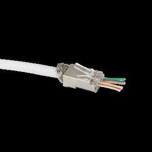 Doorsteek CAT6 Connector RJ45 - STP 10 stuks voor soepele en stugge kabel