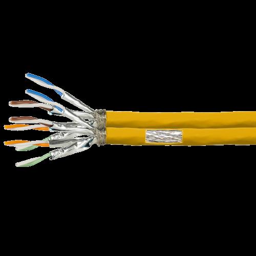 S/FTP CAT7a duplex netwerkkabel stug 50M 1200MHz 100% koper geel (netwerkkabel op rol)