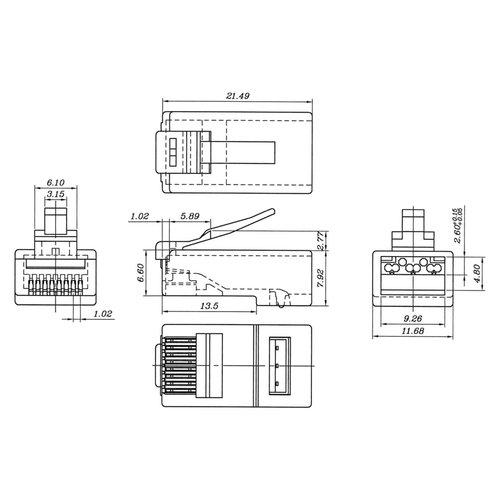 CAT6a Modular Plug RJ45 - Unshielded 10 pcs