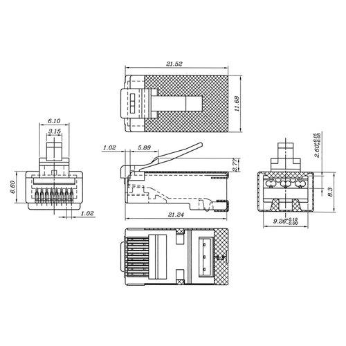 CAT6a STP Modular Plug RJ45 Stranded With Threader