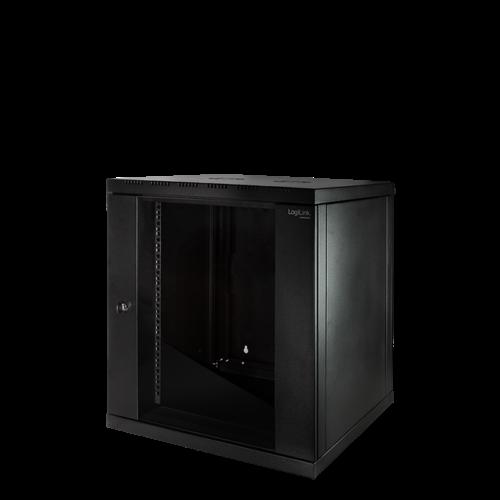 Bintra 12U wall patch cabinet with glass door 600x600x635 (WxDxH)