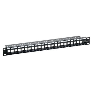 Keystone Patch Panel for 24 Ports SNAP IN Unshielded RAL9005 Black