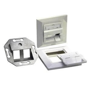 Keystone Faceplate for 2 Keystone Jacks RAL9010 White