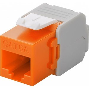 CAT6a Keystone RJ45 unshielded oranje