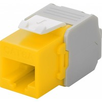 CAT6a Keystone RJ45 unshielded geel