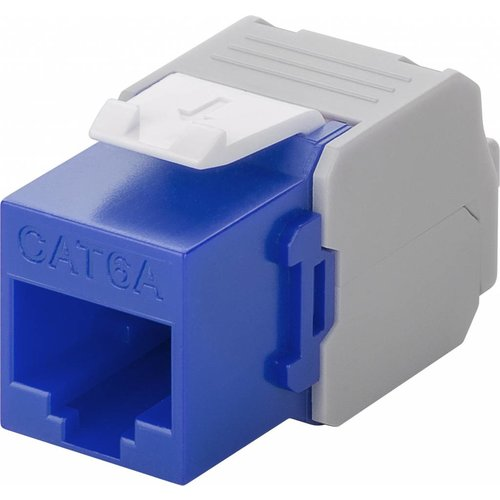 CAT6a Keystone RJ45 unshielded blauw