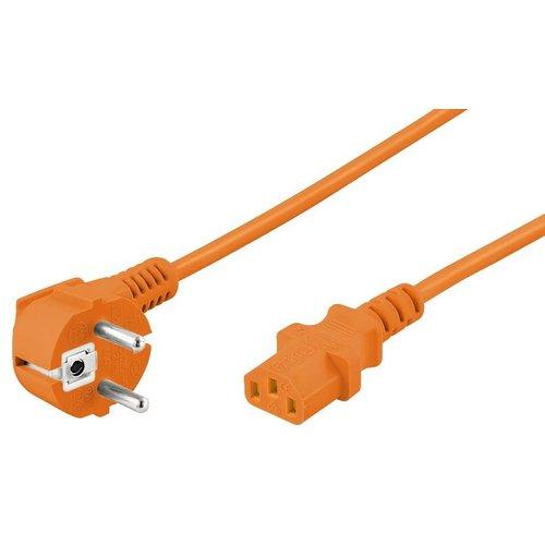 Stroomkabel CEE 7/7 haaks (male) naar C13 (female) 5 M oranje