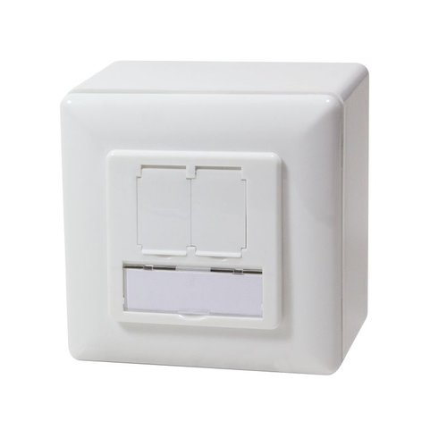 Cat5e Surface Modular Outlet 2x RJ45 Fully Shielded with LSA