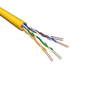 Cat5e U/UTP AWG24 PVC Stranded 500M Yellow 100% Copper