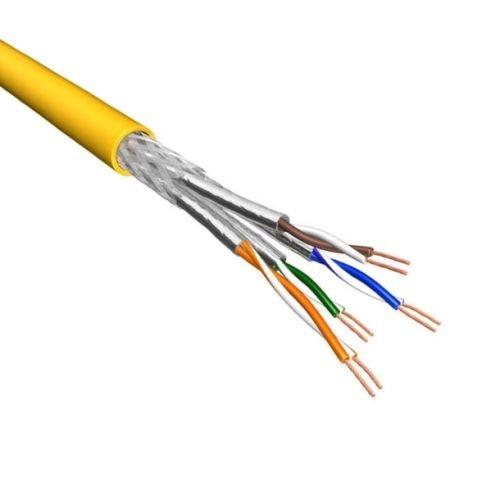 Cat.6A S/FTP Kabel Soepel AWG26 LSZH Geel 500m 100% koper