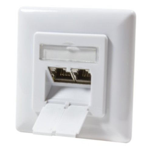 CAT 6a wall plate flush mounting  2x RJ45 network wall socket, shielded RAL 9003