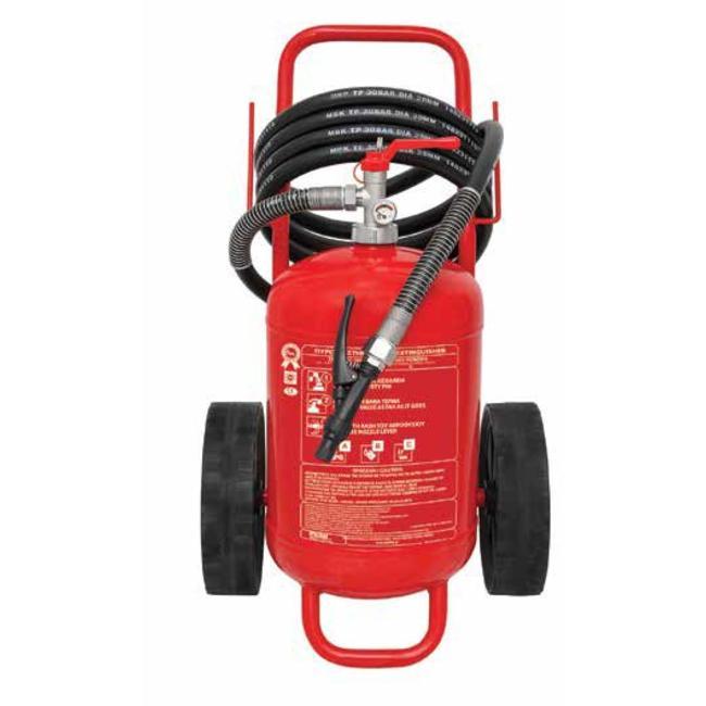 Protectionincendieshop Extincteur sur roues de 50 kg à poudre (ABC) pression permanente