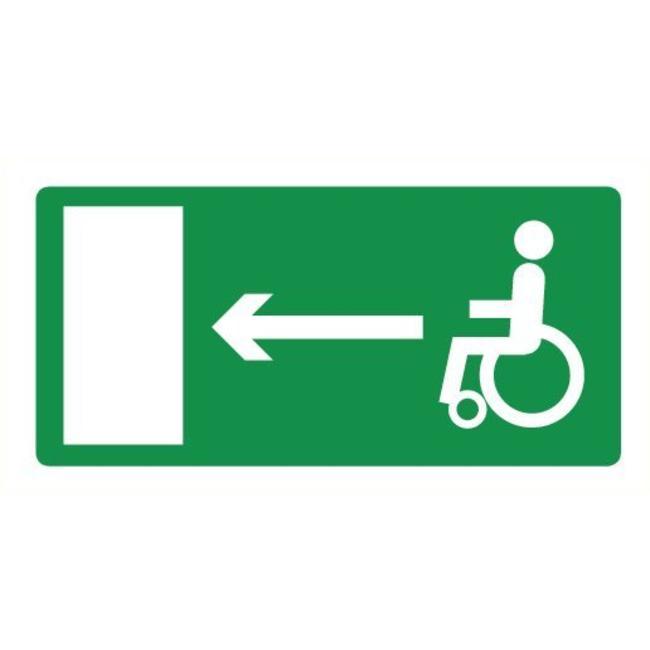 Pikt-o-Norm Pictogramme de sécurité sortie de secours fauteuil roulant gauche