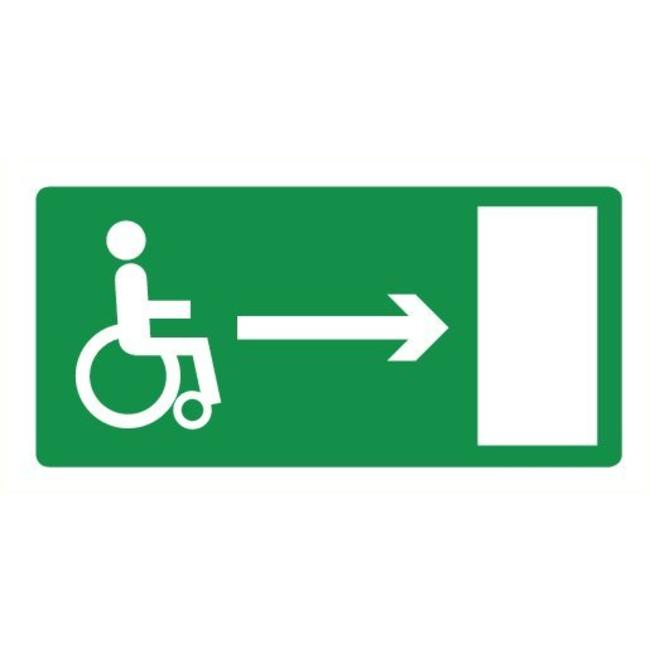Pikt-o-Norm Pictogramme de sécurité sortie de secours fauteuil roulant droite