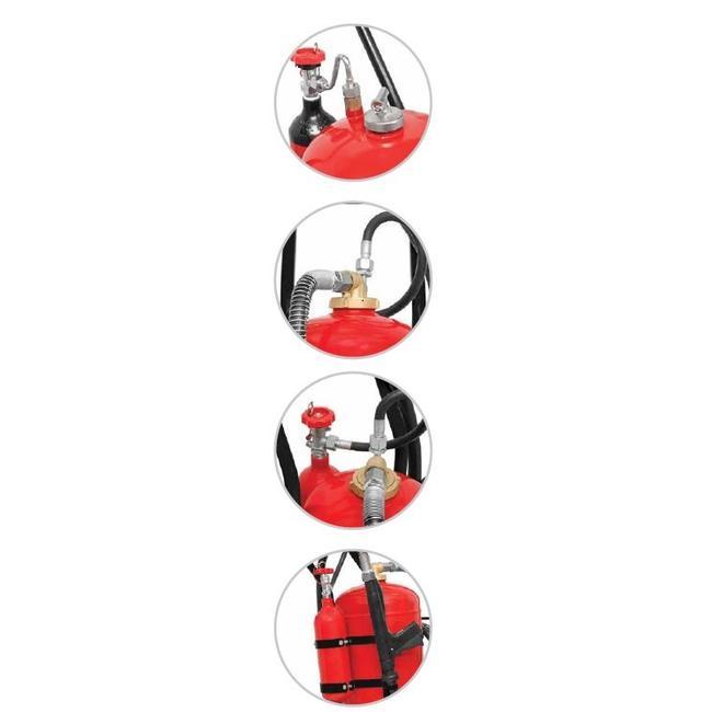 Protectionincendieshop Extincteur sur roues de 50 kg à poudre (ABC) cartouche externe