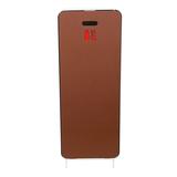 Cabinet d'extincteurs design Harmony blanc avec porte  en cuir synthétique marron châtaigne