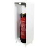 Designfeu Cabinet d'extincteurs design Harmony blanc avec porte  en cuir synthétique marron châtaigne