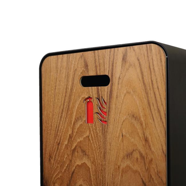 Designfeu Cabinet d'extincteurs design Harmony noir-brun avec porte en bois de teck