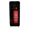 Designfeu Cabinet d'extincteurs design Harmony noir-brun avec porte textile rouge