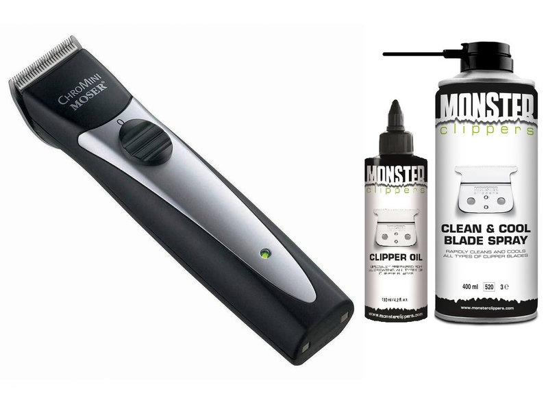 Moser Set ChroMini Pro Trimmer 1591 Trimmer + Monster Clippers Clean & Cool Blade Spray & Olie