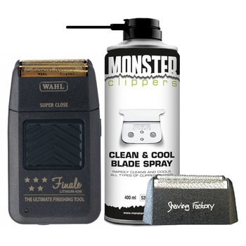 Wahl Set Finale Shaver Scheerapparaat + Shaving Factory Scheerfolie + GRATIS Monster Clippers  Clean & Cool Blade Spray