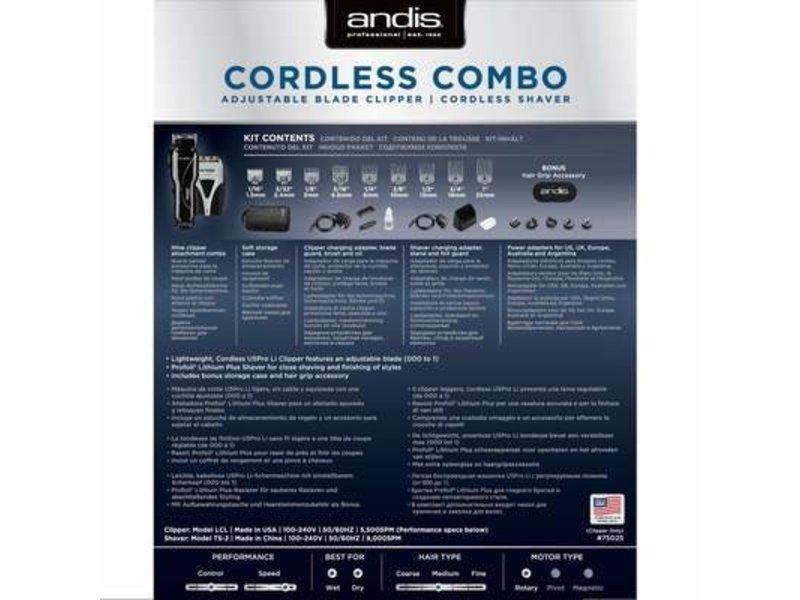 Andis Combo Cordless Tondeuse + Scheerappararaat Shaver Zwart