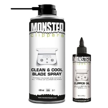 Monster Clippers Clean & Cool Blade Spray (400ml) + Tondeuse Olie (100ml) Combi