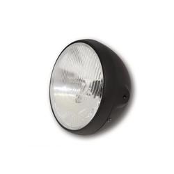 "7"" British Style Cafe Racer Flat Black Headlight"
