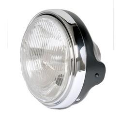 "7"" Black and Chrome Cafe Racer Headlight Universal"
