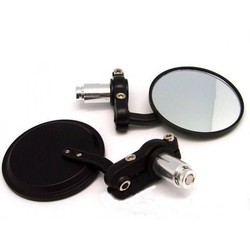 """Pair of Black 3"""" Bar End Cafe Racer Mirrors"""