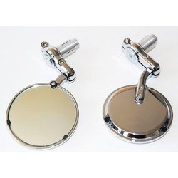 """Pair of Chrome 3"""" Bar End Cafe Racer Mirrors"""