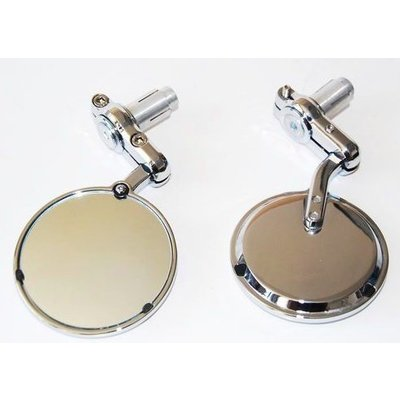 "Pair of Chrome 3"" Bar End Cafe Racer Mirrors"