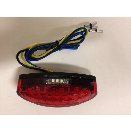 Highsider Red Oval Cafe Racer LED Tail / Brake / Plate Light
