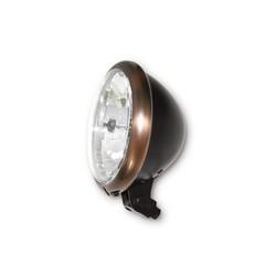 "5.75"" Cafe Racer Headlamp H4, Copper & Black, E-mark"
