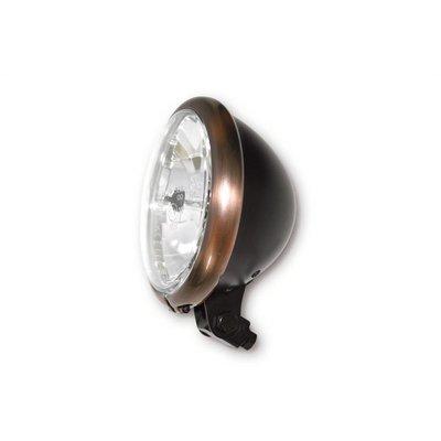 """Shin Yo 5.75"""" Cafe Racer Headlamp H4, Copper & Black, E-mark"""
