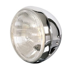 "7"" British Style Cafe Racer Chrome Headlight"