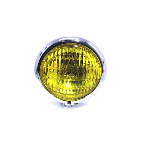 "4.75"" Chopper Koplamp ""Bates Style"" Chrome & Yellow"