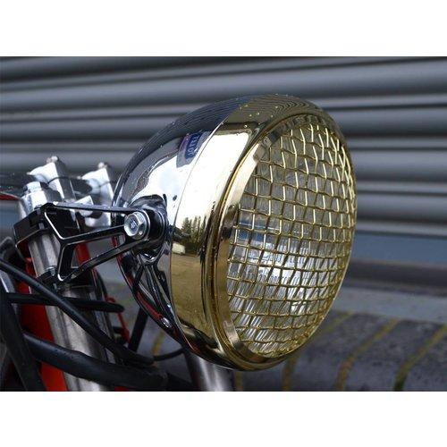 """7.7"""" Scrambler Hauptscheinwerfer Brass & Chrome"""