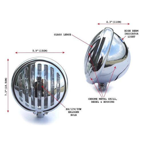 "5.75"" Chopper Grill Koplamp Chrome Universeel"