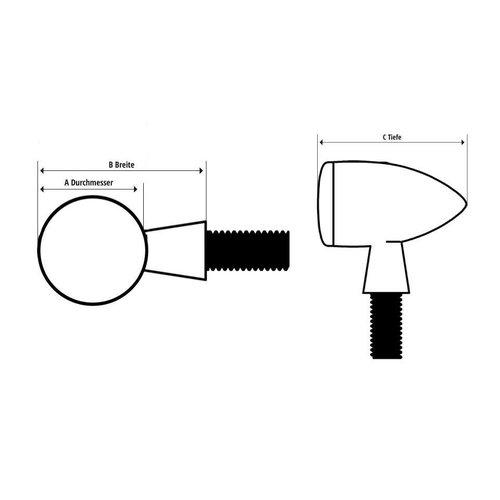 Highsider Power LED-indicator in een zwarte aluminium behuizing, E-keur.