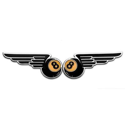 Motone Winged 8-Ball Fuel Tank/Side Panel Emblems - Billet