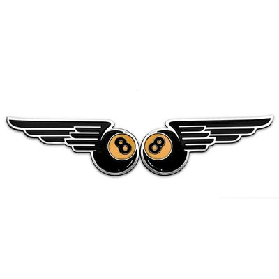 Motone Winged 8-Ball Kraftstofftank / Seitenwand Embleme - Billet