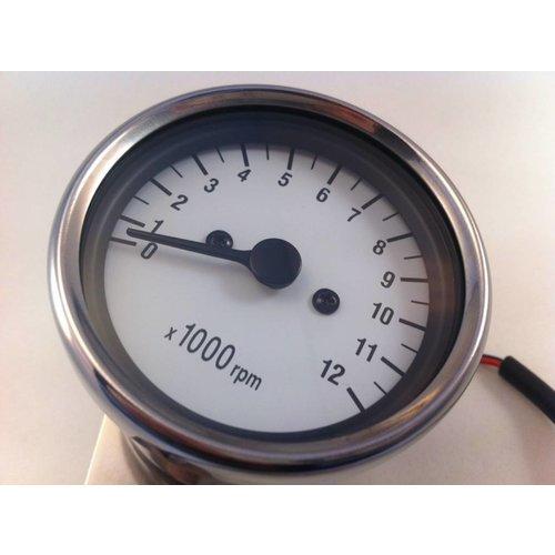 1:5 Mechanischer Drehzahlmesser Weiss / Chrom