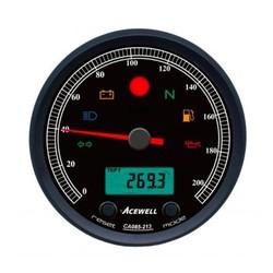CA085 210 KM/H Speedo Schwarz / Schwarz