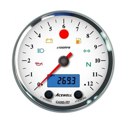 Acewell CA085 12,000RPM Counter Chrome Housing and White Dial