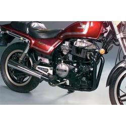 Kawasaki KZ400/440 Système d'échappement Megaphone 2-en-1 noir/chrome